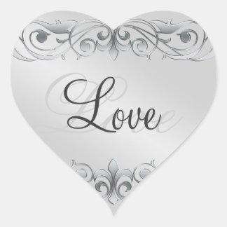 Pegatina de plata del amor del corazón de la