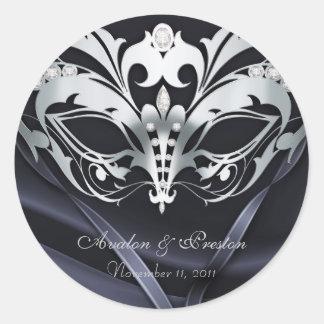 Pegatina de plata del boda del negro de la mascara