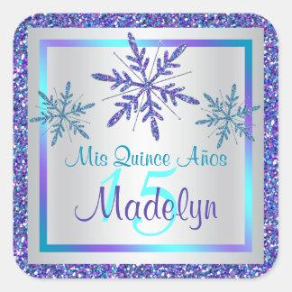 Pegatina de plata púrpura de los copos de nieve de