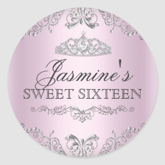 Pegatina de plata rosado del dulce 16 de la tiara