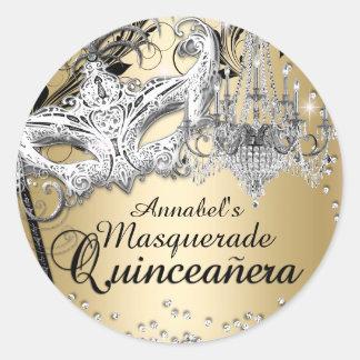 Pegatina de Quinceanera del oro de la mascarada de