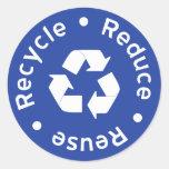 Pegatina de reciclaje azul del símbolo