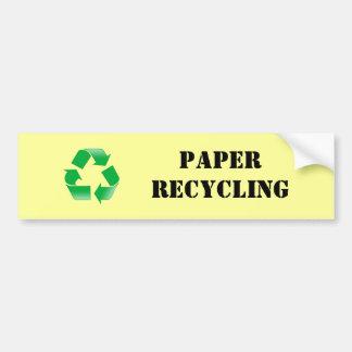 Pegatina de reciclaje de papel pegatina para auto