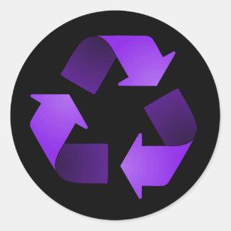 Pegatina de reciclaje púrpura del símbolo