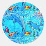 pegatina de risa del azul de los delfínes