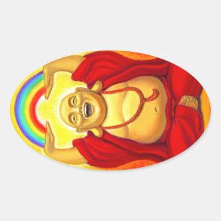 Pegatina de risa del óvalo de Buda del arco iris