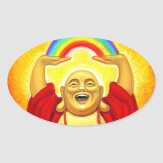 Pegatina de risa del óvalo del arco iris de Buda