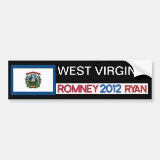 Pegatina   de Romney del país de VIRGINIA OCCIDENT Pegatina Para Auto