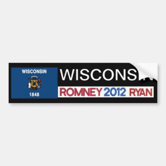 Pegatina de Romney del país de WISCONSIN Romney Ry Pegatina Para Auto