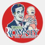 Pegatina de Romney del zombi