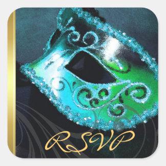 Pegatina de RSVP del remolino de la mascarada del