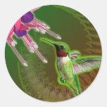 Pegatina de rubíes del colibrí y del fucsia