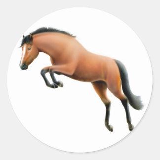 Pegatina de salto del caballo de bahía