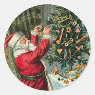 Pegatina de Santa del alemán del vintage