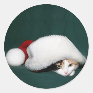 Pegatina de Santa del gato de calicó