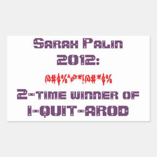 Pegatina de Sarah Palin I-QUIT-AROD