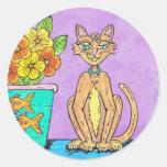 Pegatina de señora Kitten y de las flores