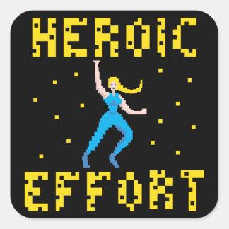 Pegatina de sexo femenino rubio del super héroe