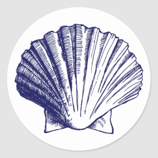 Pegatina de Shell del mar de los azules marinos