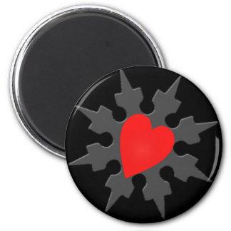 Pegatina de Shuriken del corazón de Ninja del Cupi Imán Redondo 5 Cm