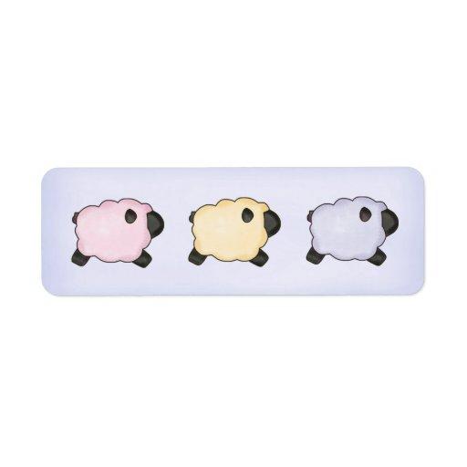Pegatina de tres corderos etiquetas de remite