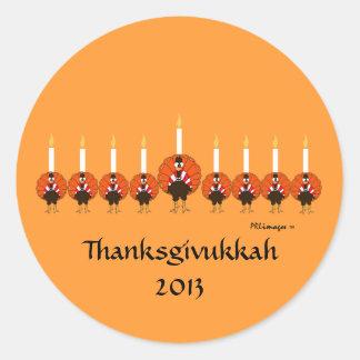 Pegatina de Turquía Menorah Thanksgivukkah