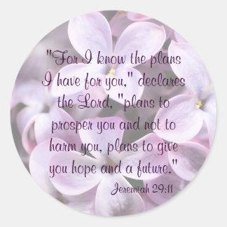 Pegatina del 29:11 de Jeremiah de las lilas