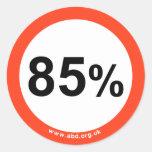 pegatina del 85%