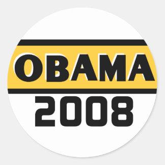 Pegatina del amarillo 08 de Obama de la raya negra