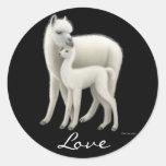 Pegatina del amor de la alpaca
