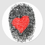 Pegatina del amor de la huella dactilar del