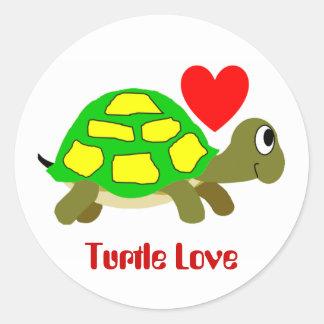 Pegatina del amor de la tortuga