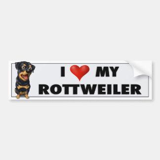 Pegatina del amor de Rottweiler Etiqueta De Parachoque