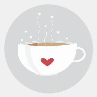 Pegatina del amor del café en gris