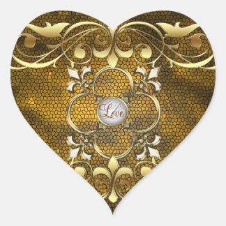 Pegatina del amor del vitral del corazón del oro d