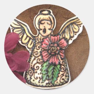 Pegatina del ángel: Alheña en la foto de madera