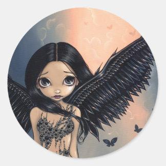"""Pegatina """"del ángel con alas negro"""""""