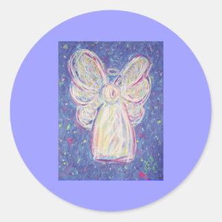 Pegatina del ángel de la noche estrellada