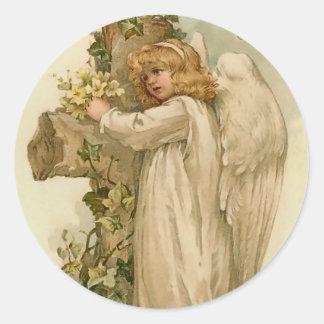 Pegatina del ángel de Pascua del vintage