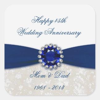 Pegatina del aniversario de boda del damasco 45 o