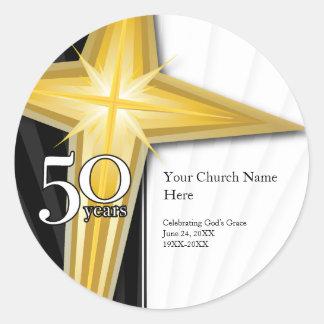 Pegatina del aniversario de la iglesia de 50 años