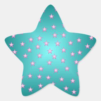 Pegatina del Aquamarine y de la estrella del rosa