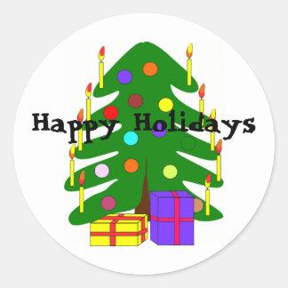 Pegatina del árbol de navidad del día de fiesta