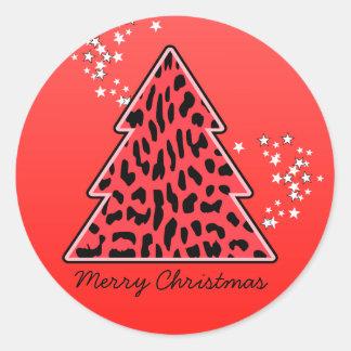 Pegatina del árbol de navidad del guepardo del