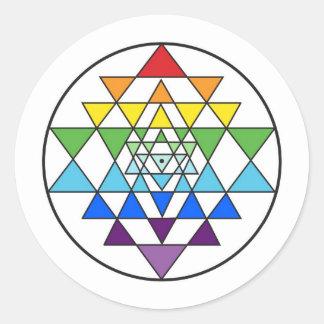 Pegatina del arco iris de Sri Yantra