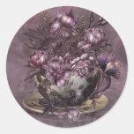 Pegatina del arte del té y de los rosas