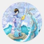 Pegatina del atardecer, grande, arte del delfín
