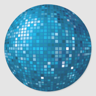 Pegatina del azul de la bola de discoteca