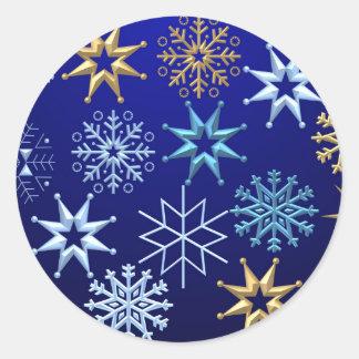 Pegatina del azul de los copos de nieve