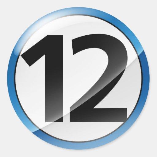 Pegatina del azul del número 12